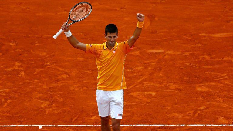 Djokovic celebrates beating Berdych