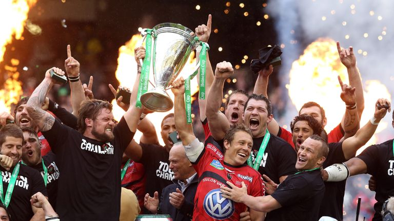 Jonny Wilkinson raises the Heineken Cup after their victory over Clermont two years ago