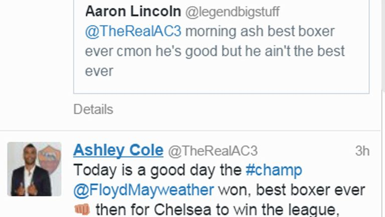 Ashley Cole dubs Mayweather the best boxer ever.