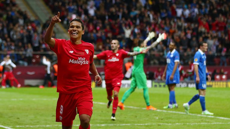 Bacca celebrates Sevilla's winner in Warsaw