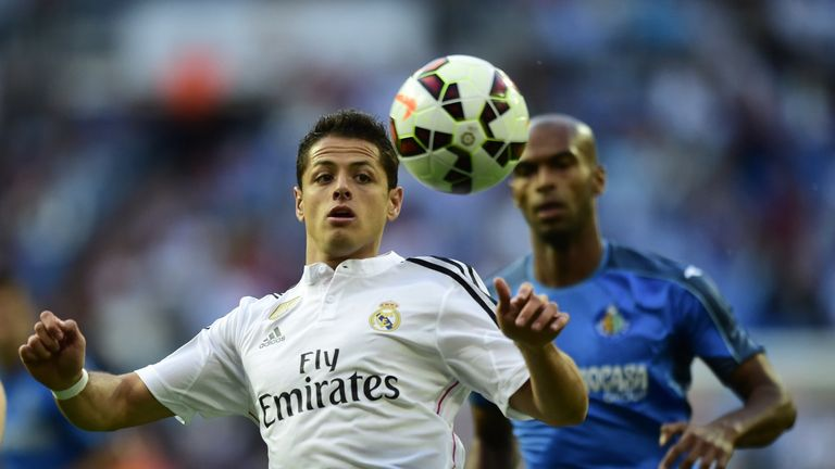 Real Madrid's Mexican forward Javier Hernandez controls the ball