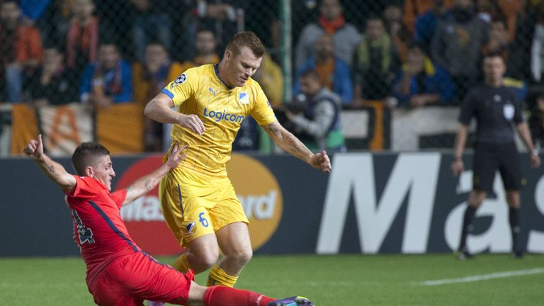 John Arne Riise in action for APOEL against Paris St Germain
