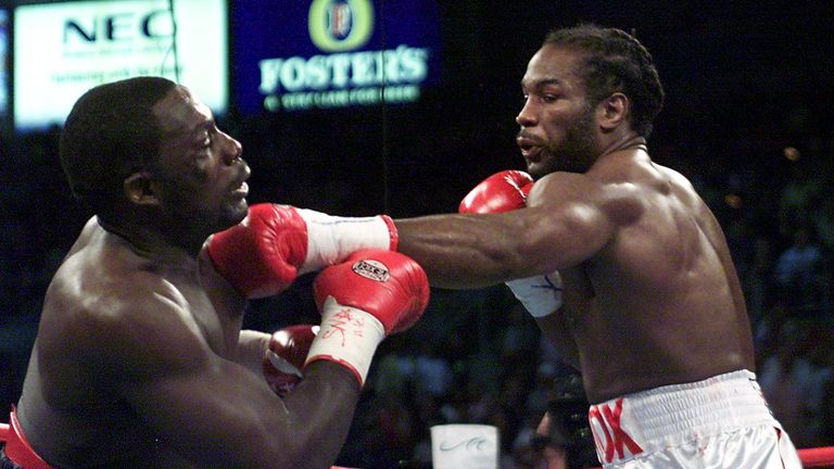 Lennox Lewis (right) shockingly lost to Hasim Rahman but won a rematch