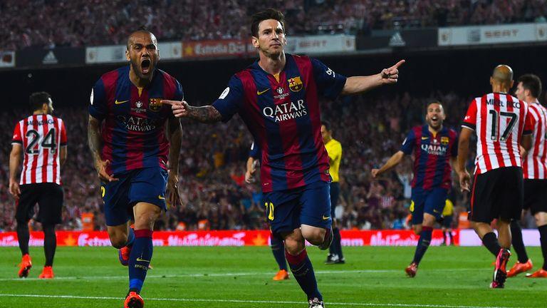 Lionel Messi celebrates scoring in the Copa del Rey final