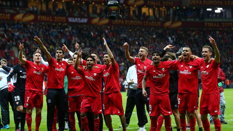 Sevilla players celebrate victory