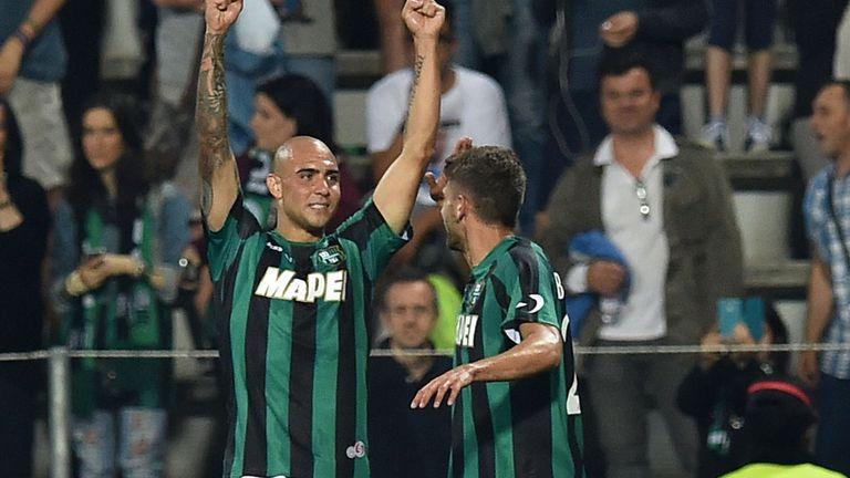 Simone Zaza of Sassuolo celebrates after scoring