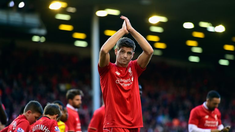 Steven Gerrard applauds the Kop during one of his final games for Liverpool.