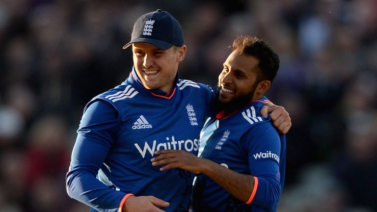 Adil Rashid (R) celebrates a wicket with Jason Roy (L) as he forces his way into the ODI team.