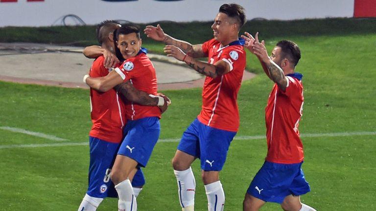 Chile celebrate Arturo Vidal's opener