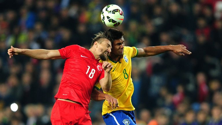 Brazil's Casemiro goes up for a header in a friendly against Turkey