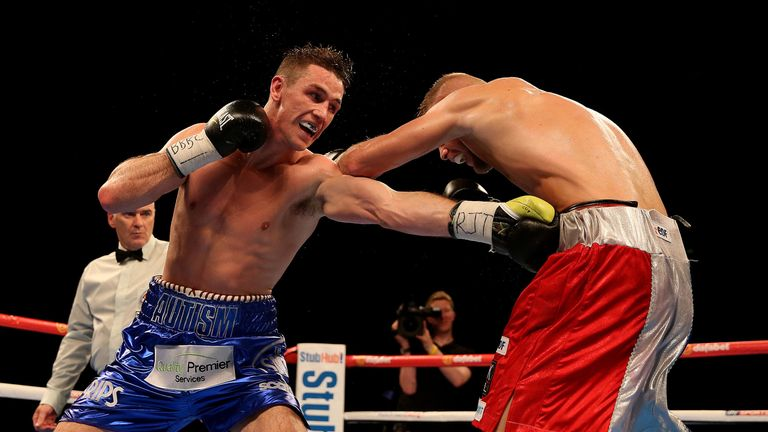 Callum Smith lands a jab on the way to victory over Christopher Rebrasse