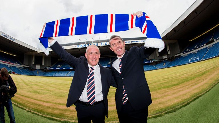 New Rangers manager Mark Warburton (left) and his assistant and former Ibrox star David Weir unveiled at Ibrox