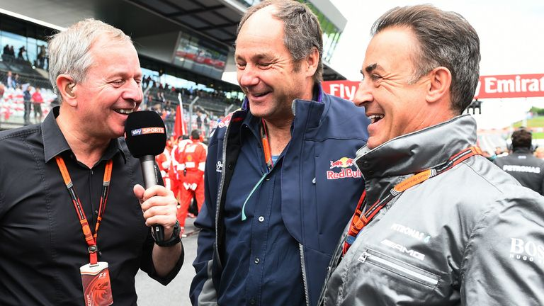 Martin Brundle with one-time F1 rivals Gerhard Berger and Jean Alesi on the Austrian GP grid