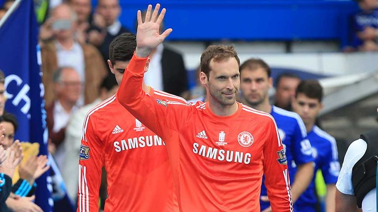 Petr Cech waves to the fans ahead of Chelsea's final game of last season