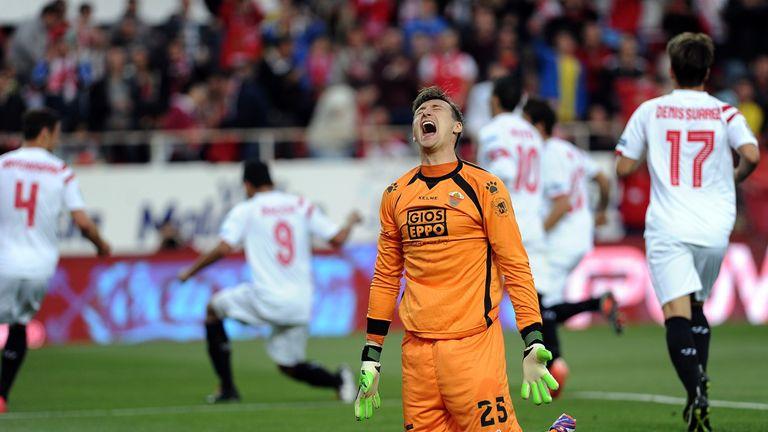 Elche's goalkeeper Przemyslav Tyton was hardly full of cheer