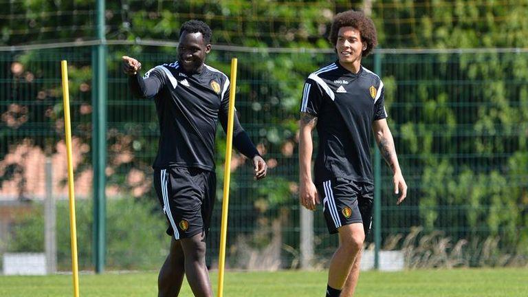 Romelu Lukaku (left) in training with Belgium
