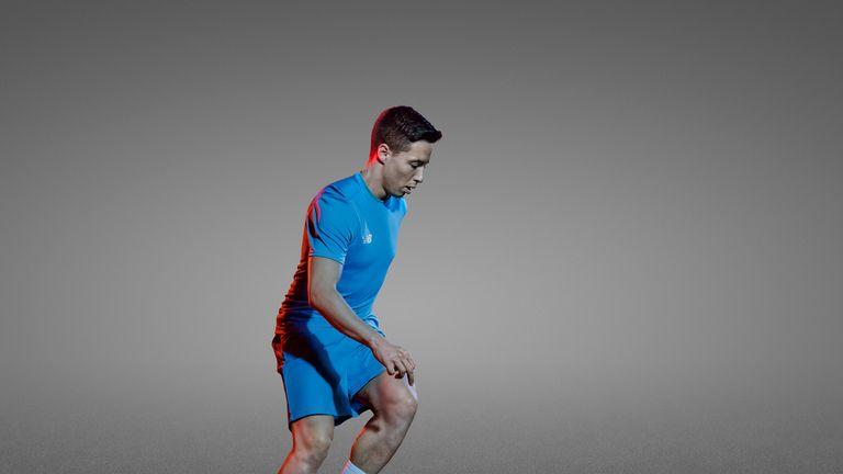 Samir Nasri wears the New Balance Football Visaro range