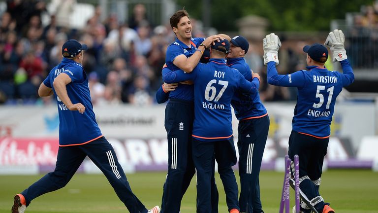 Steven Finn leads the celebrations, a familiar sight for England in white-ball cricket over the last year