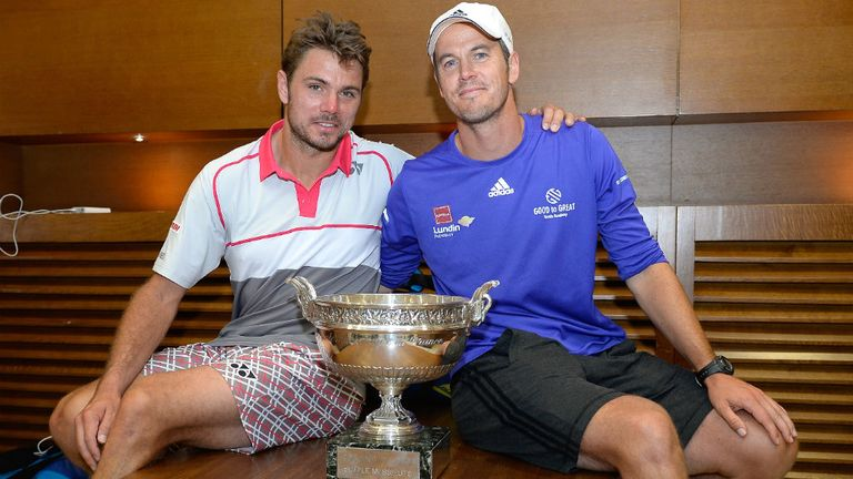 Stan Wawrinka poses with the Coupe de Mousquetaires and coach Magnus Norman