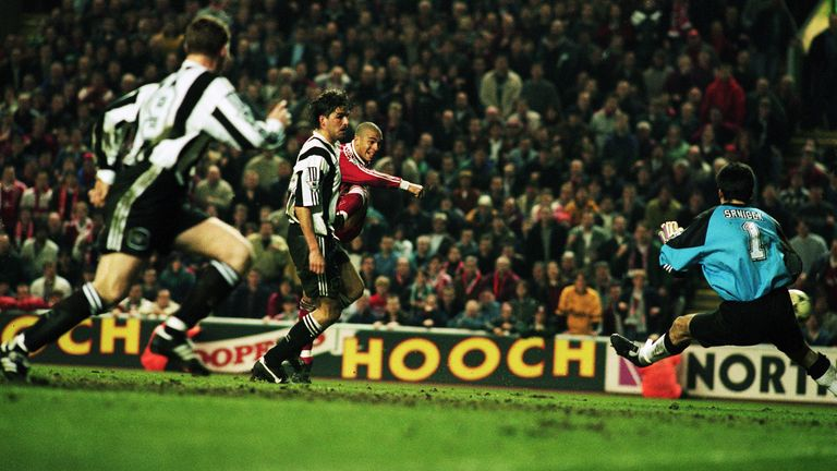 Stan Collymore smashes the winning goal past Pavel Srnicek
