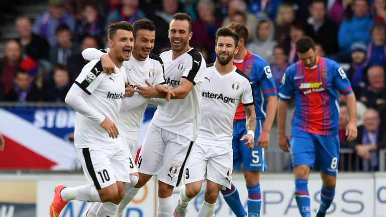 Astra's Constantin Budescu (number 10) celebrates after scoring with a free-kick against Inverness in the Europa League qualifier