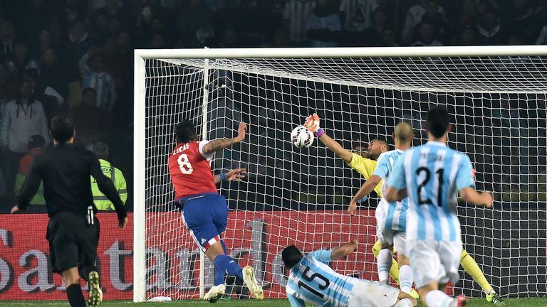 Paraguay's forward Lucas Barrios made it 2-1