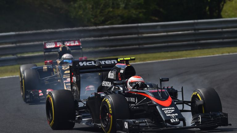 Jenson Button in action during the Hungarian GP