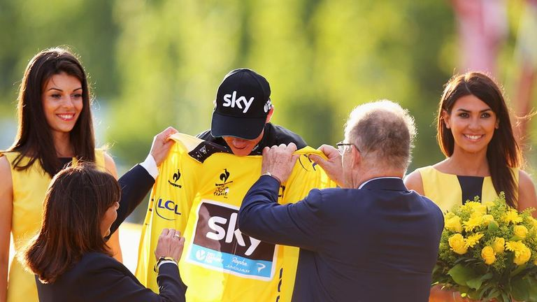 Froome pulled on the yellow jersey on the podium in Paris for the second time in his career