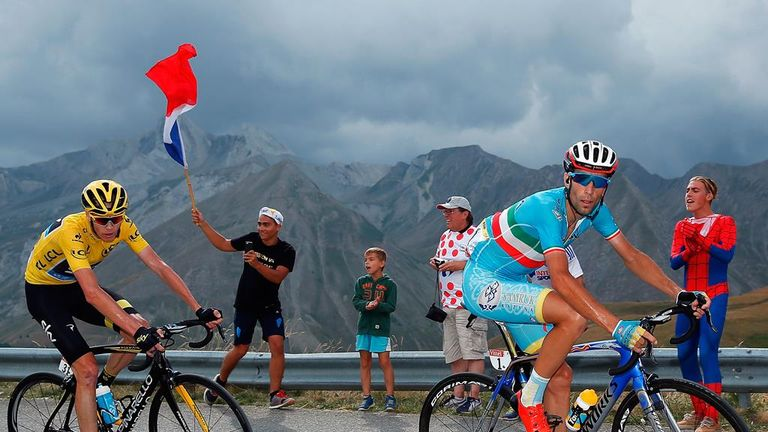 Froome (left) chased down an attack from Vincenzo Nibali (right)