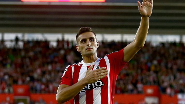 Dusan Tadic of Southampton celebrates after scoring from the penalty spot