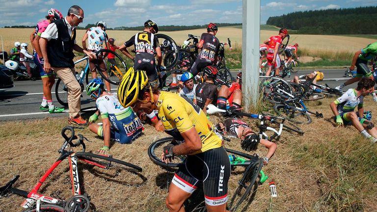 Fabian Cancellara was involved in a huge crash with around 55km to go