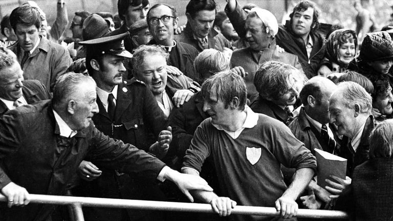 Limerick captain Eamonn Grimes walks up the steps in the Hogan Stand to accept the Liam MacCarthy Cup after beating Kilkenny in the 1973 All-Ireland final