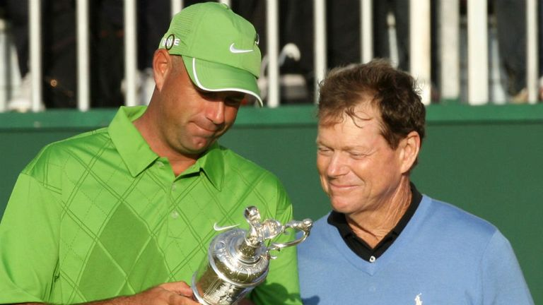 Tom Watson narrowly missed out on lifting his sixth Claret Jug, losing a play-off against Stewart Cink at Turnberry in 2009