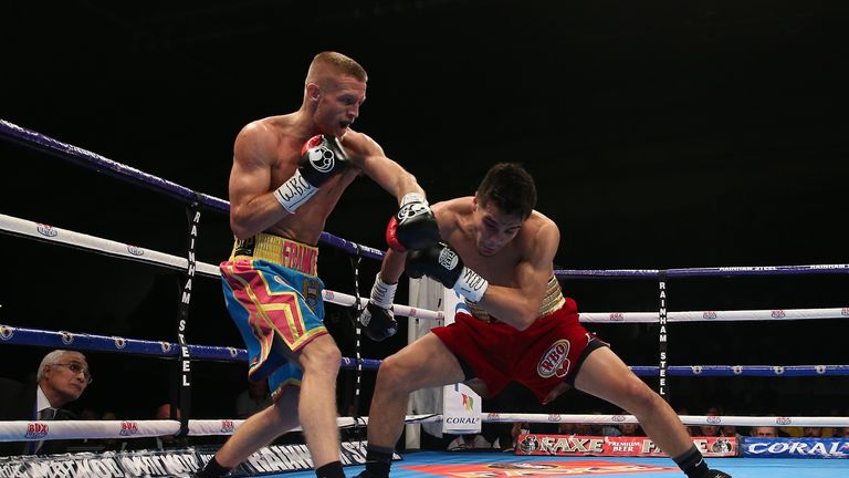 Flanagan (left) lands a left hand on Jose Zepeda