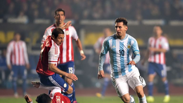 Lionel Messi waltzes through the Paraguay defence