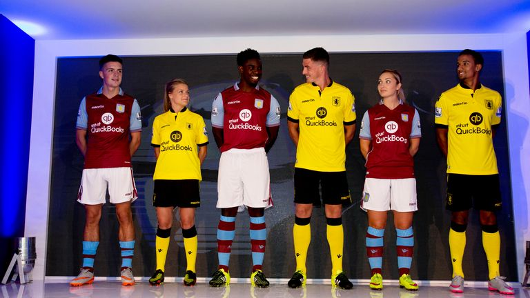 1b34921da Villa have a new yellow away kit to accompany their traditional claret-and- blue