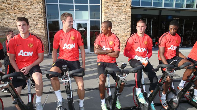 Manchester United's players put some time in on the bikes