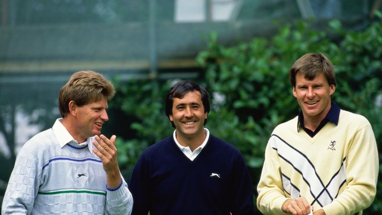 Nick Price, Seve Ballesteros and Nick Faldo before the final round of the Open Championship at the Royal Lytham in 1988