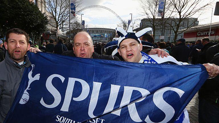 Spurs fans outside Wembley at last season's League Cup final
