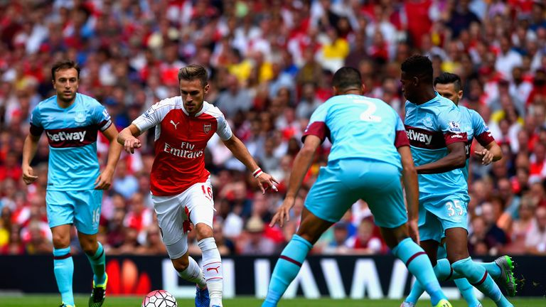 Aaron Ramsey turns and runs at the Hammers defence