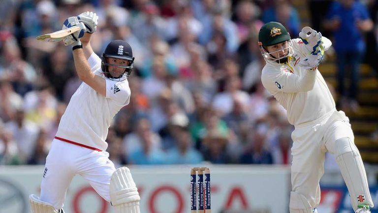 Adam Lyth drives off the back foot in the third Ashes Test at Edgbaston