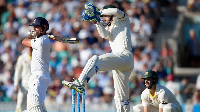 Alastair Cook cuts Nathan Lyon for four on day three