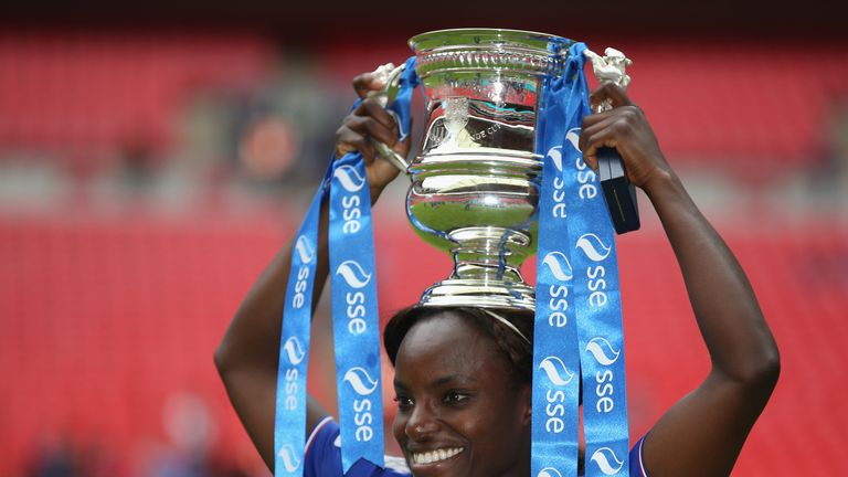 Eniola Aluko is now a three-time winner of the Women's FA Cup