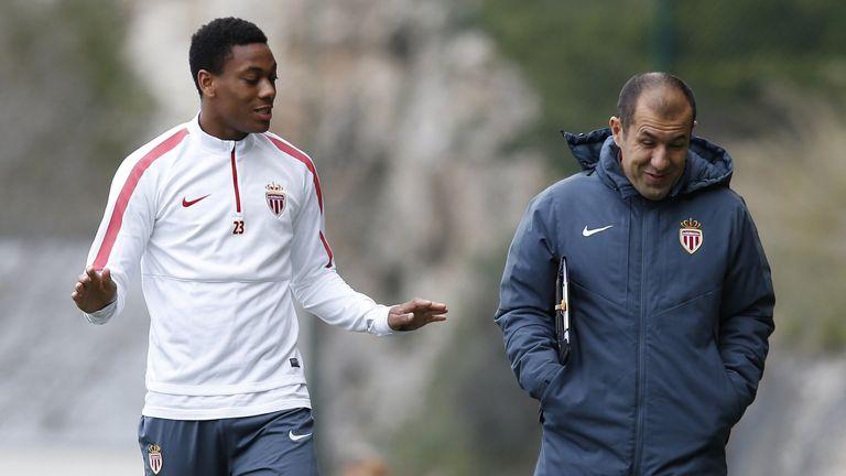 Martial with former coach Leonardo Jardim
