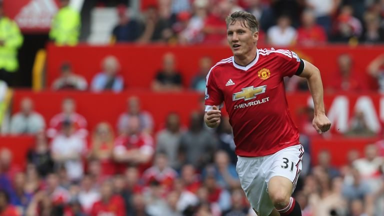 Bastian Schweinsteiger replaced Michael Carrick to make his Premier League debut