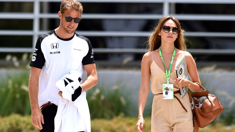 Jenson Button and wife Jessica Michibata will continue to be familiar faces in the paddock in 2016