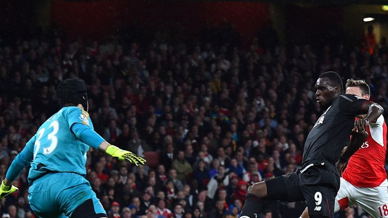 Petr Cech saves from a close-range Christian Benteke shot