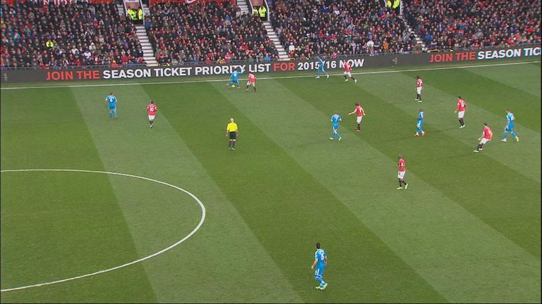 Connor Wickham (far right) is marginally offside when the ball is played up the line during Sunderland's visit to Manchester United