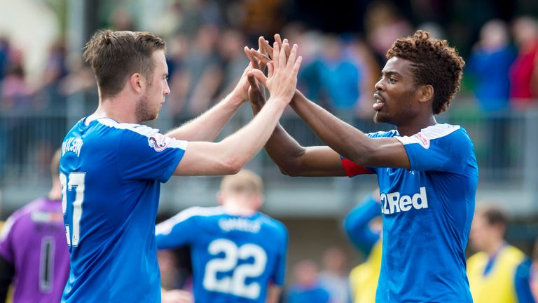 Rangers' Danny Wilson (left) and Nathan Oduwa celebrate at full-time.