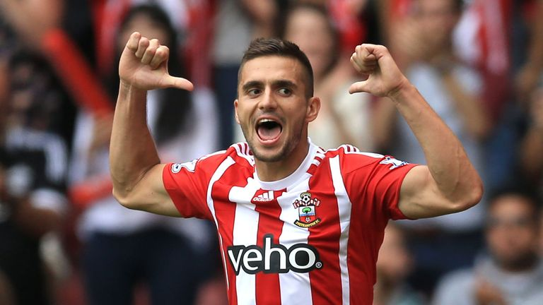 Southampton's Dusan Tadic celebrates scoring his side's second goal, his first of two